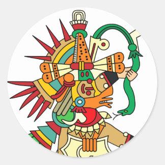 Aztec God Quetzalcoatl Classic Round Sticker