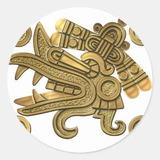 Aztec Gold Ehecatl Classic Round Sticker