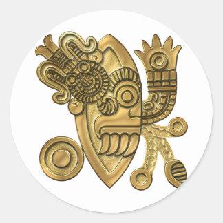 Aztec Gold Knife Blade Classic Round Sticker
