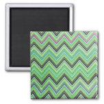 Aztec Green Purple Black Chevron Girly Pattern 2 Inch Square Magnet