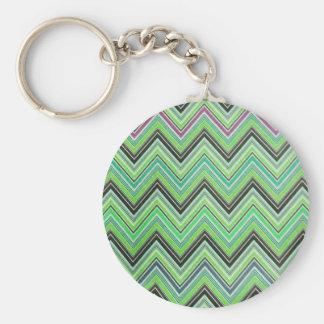 Aztec Green Purple Black Chevron Girly Pattern Keychain