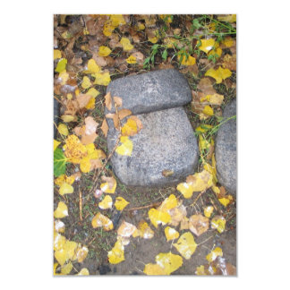 aztec grinding stones with yellow fall leaves card