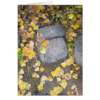 aztec grinding stones with yellow fall leaves greeting card