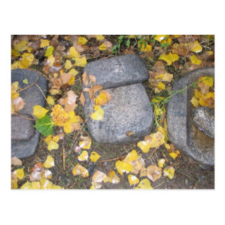 aztec grinding stones with yellow fall leaves postcard