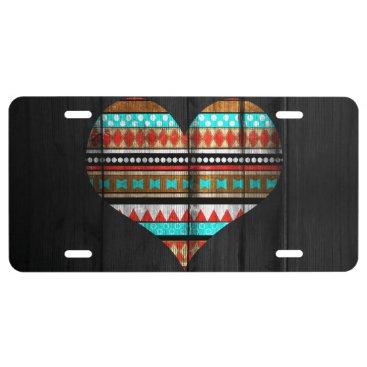 Aztec Themed Aztec heart license plate