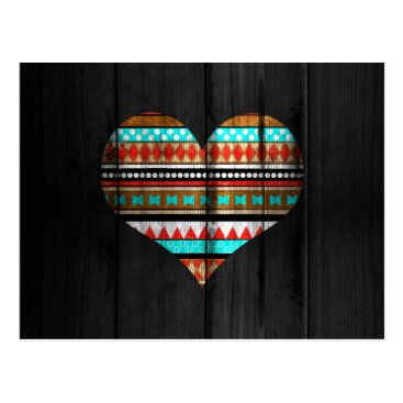 Aztec Themed Aztec heart postcard
