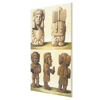 Aztec Idols Mexico colour lithograph Gallery Wrap Canvas