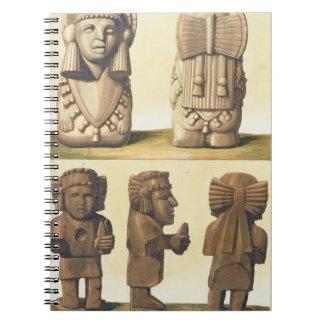 Aztec Idols, Mexico (colour lithograph) Spiral Notebook