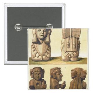 Aztec Idols, Mexico (colour lithograph) Pinback Button