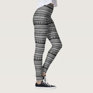 Aztec Themed Aztec in Black and White Leggings