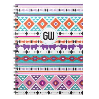 Aztec Indian Tribal pattern custom monogram Note Book