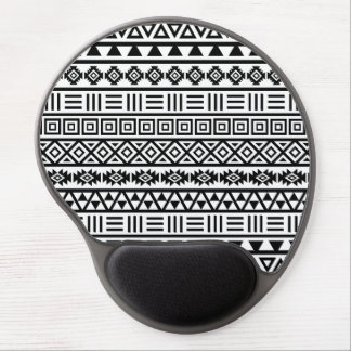Aztec Influence Pattern Black on White Gel Mouse Pad