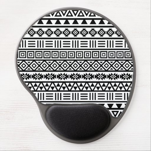Aztec Influence Pattern Black on White Gel Mouse Mats
