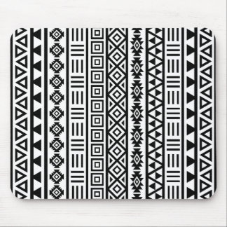 Aztec Influence Pattern Black on White Mouse Pad