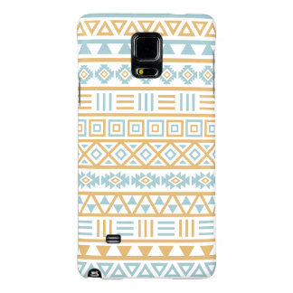 Aztec Influence Pattern Blue Gold White Galaxy Note 4 Case