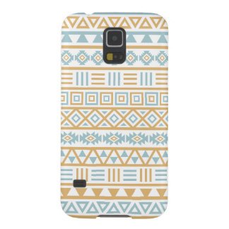 Aztec Influence Pattern Blue Gold White Galaxy S5 Cover