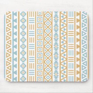 Aztec Influence Pattern Blue Gold White Mouse Pad