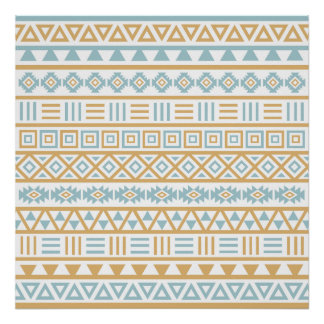 Aztec Influence Pattern Blue Gold White Poster