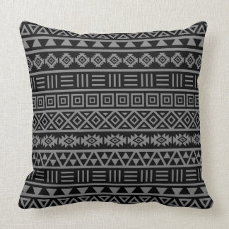 Aztec Influence Pattern Grey on Black Pillow