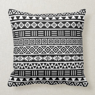 Aztec Influence Pattern White on Black Pillow