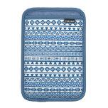 Aztec Influence Repeat Pattern Blues on White iPad Mini Sleeves