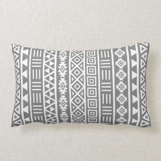 Aztec Influence Vertical Ptn White on Grey Lumbar Pillow