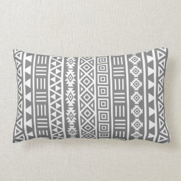 Aztec Themed Aztec Influence Vertical Ptn White on Grey Lumbar Pillow