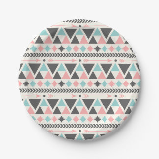 Aztec Inspired Coral and Mint Pattern Paper Plate