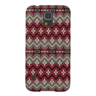 Aztec Inspired Maroon and Grey Case For Galaxy S5