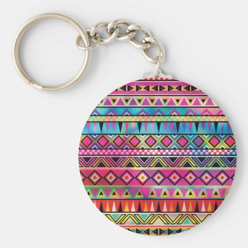Aztec inspired pattern key chains