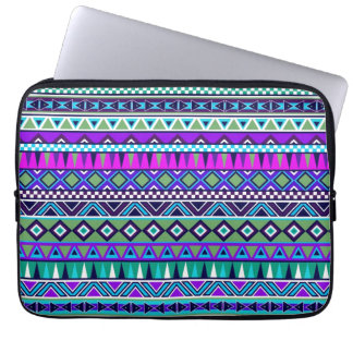 Aztec inspired pattern laptop computer sleeves
