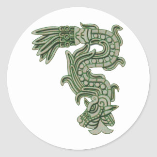 Aztec Jade Serpent Classic Round Sticker