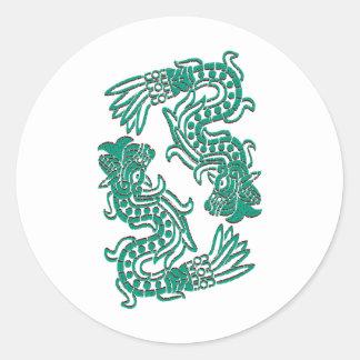 Aztec Jade Serpents Classic Round Sticker