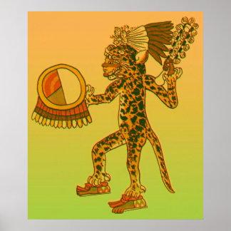 Aztec Jaguar Warrior Print