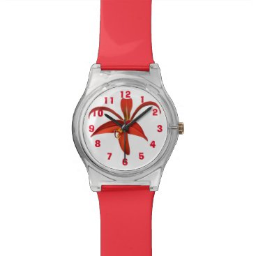 Aztec Themed Aztec Lily Fleur de Lis Flower Edit Numbers Wrist Watch