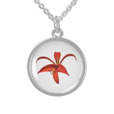 Aztec Themed Aztec Lily Red Flower Photo Sterling Silver Necklace