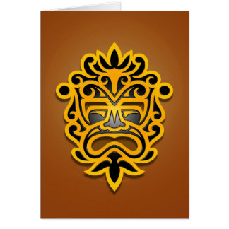 Aztec Mask Design, Yellow and Black Card