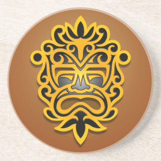 Aztec Mask Design, Yellow and Black Coasters