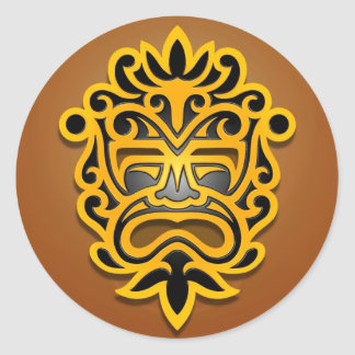 Aztec Mask Design, Yellow and Black Round Stickers