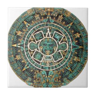 Aztec Mayan Ancient Round Disc Calendar Ceramic Tile
