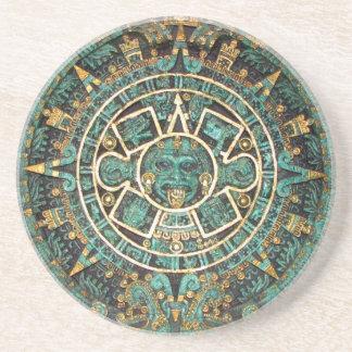 Aztec Mayan Ancient Round Disc Calendar Coaster