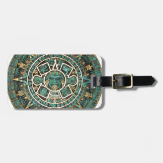 Aztec Mayan Ancient Round Disc Calendar Luggage Tag