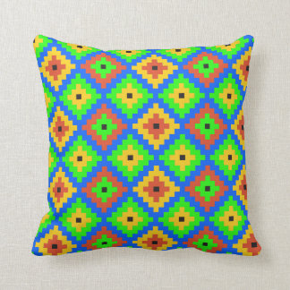 Aztec Mayan Brick Pattern | Green, Blue, Yellow Throw Pillow