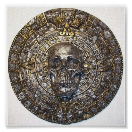 Aztec/Mayan Calendar With Skull Poster Posters