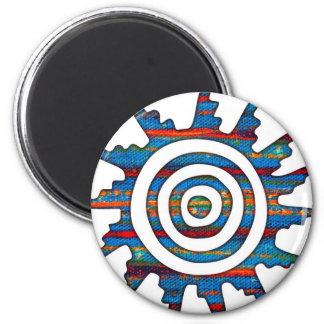 Aztec Mayan Multi-Coloured Sundial 2 Inch Round Magnet