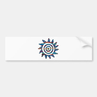 Aztec Mayan Multi-Coloured Sundial Bumper Sticker
