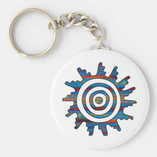 Aztec Mayan Multi-Coloured Sundial Keychain