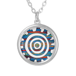 Aztec Mayan Multi-Coloured Sundial Silver Plated Necklace