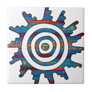 Aztec Mayan Multi-Coloured Sundial Small Square Tile