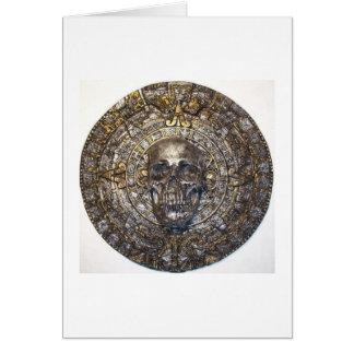 Aztec/Mayan Skull Warrior In Sun Stone Card